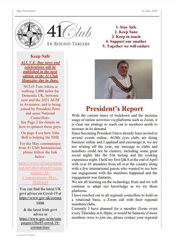 41 Club Newsletter May 2020